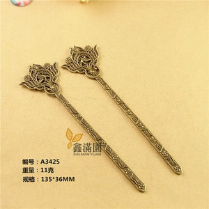 10Pcs Japanese Hair Sticks Metal Alloy Antique Bronze Plated Vintage Hair  YW0010