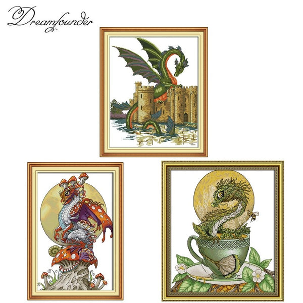 Dinosaur dragon cross stitch kit animal cross-stitch set 18ct 14ct 11ct count print canvas stitches embroidery handmade supplies