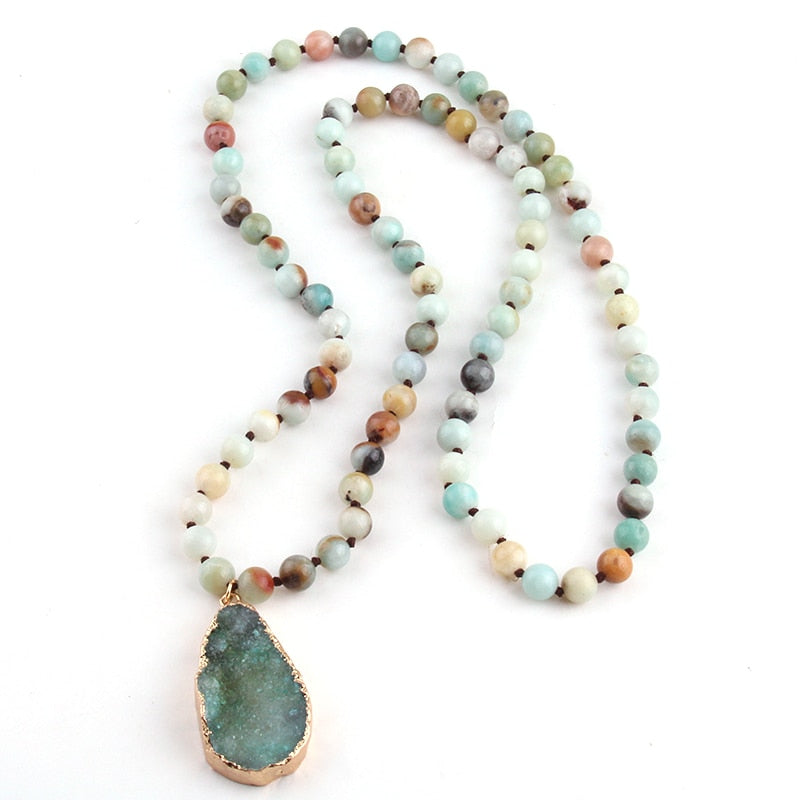 Bohemian Tribal Jewelry long Knotted Amazonite Natural