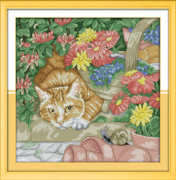 Different kinds of cats Cross stitch kit DMC Needlework Embroidery