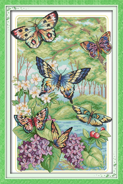Colorful Butterflies fly Cross Stitch kits DMC11CT 14CT