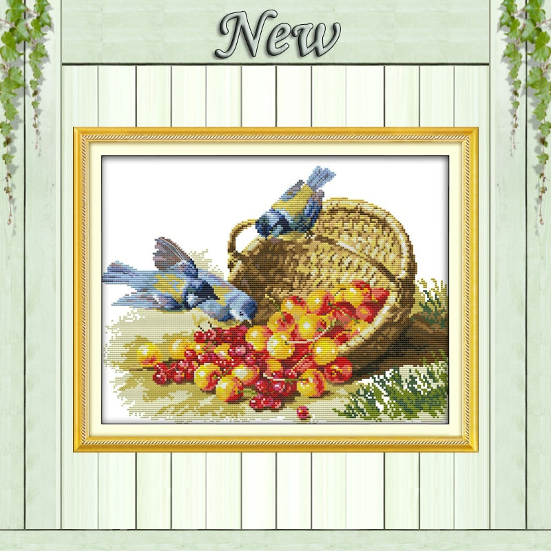 Print cloth DMC handmade cross-stitch paintings Birds and fruit embroidery