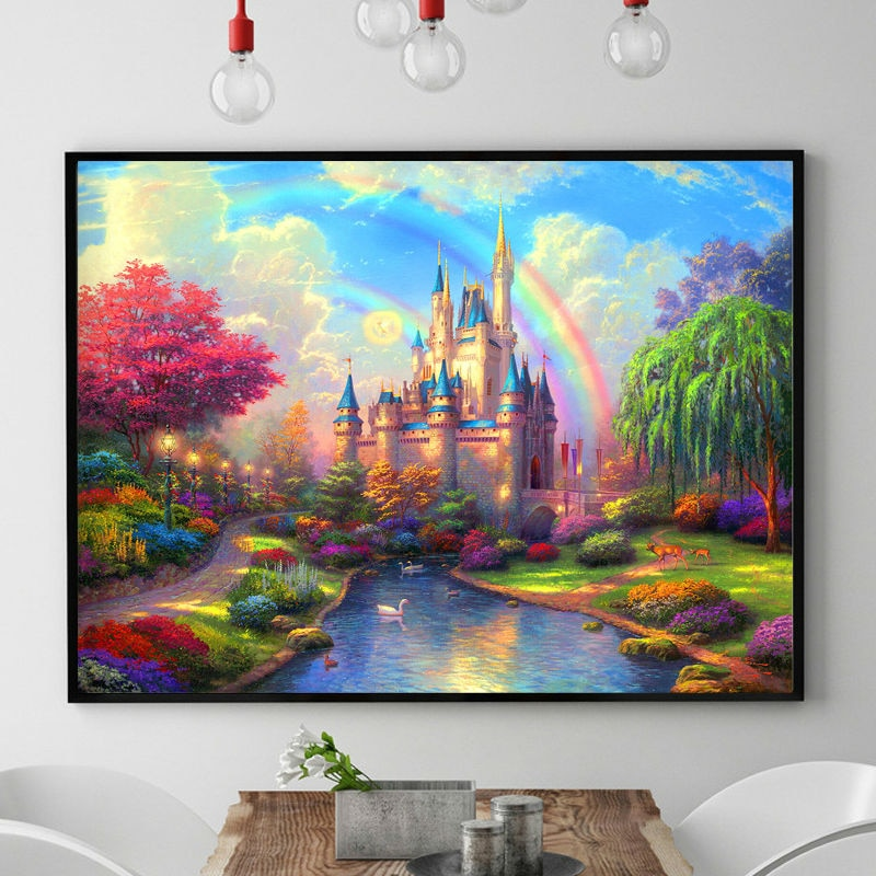 DIY DMC Chinese Cross stitch kits Rainbow Castle Patterns Counted
