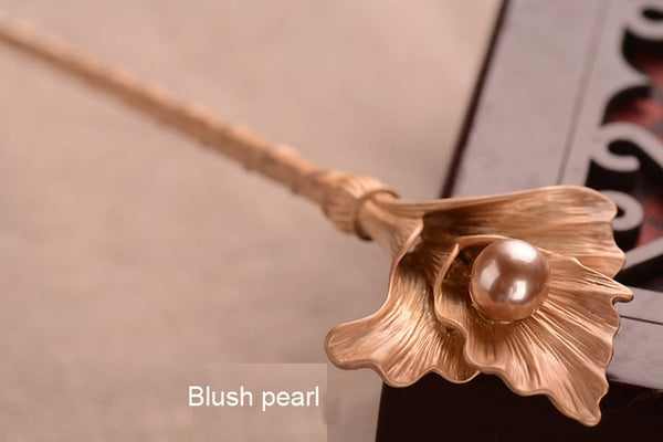 1PC Vintage Blooming Flower Alloy Retro Gold Brides Pearl Hair Clasp