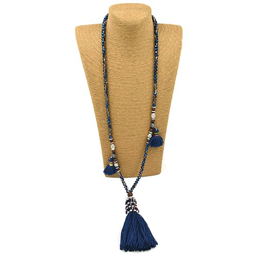 Boho Bohemian Gypsy Necklace long fringe tassel pendants necklace crystal beaded