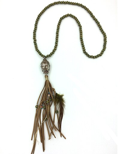 Handmade 108 Rosary Wood Beaded Long Necklace Leather Tassel Buddha Pendent Necklace