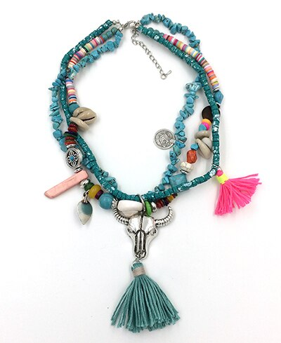Bohemia tauren pendant stone beaded chain Necklaces cotton tassel choker necklace