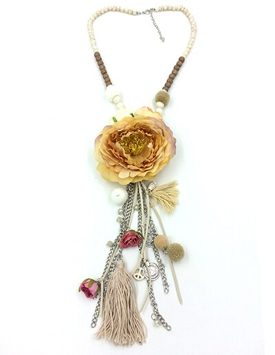 Big Drop Rose Flower Pendants Necklaces Beaded Chain Retro Necklace With Long Fringe Tassel
