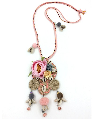 Maxi Necklace Collares Collier Handmade Rose Flower Cute Pendants Necklace Charm Tassel