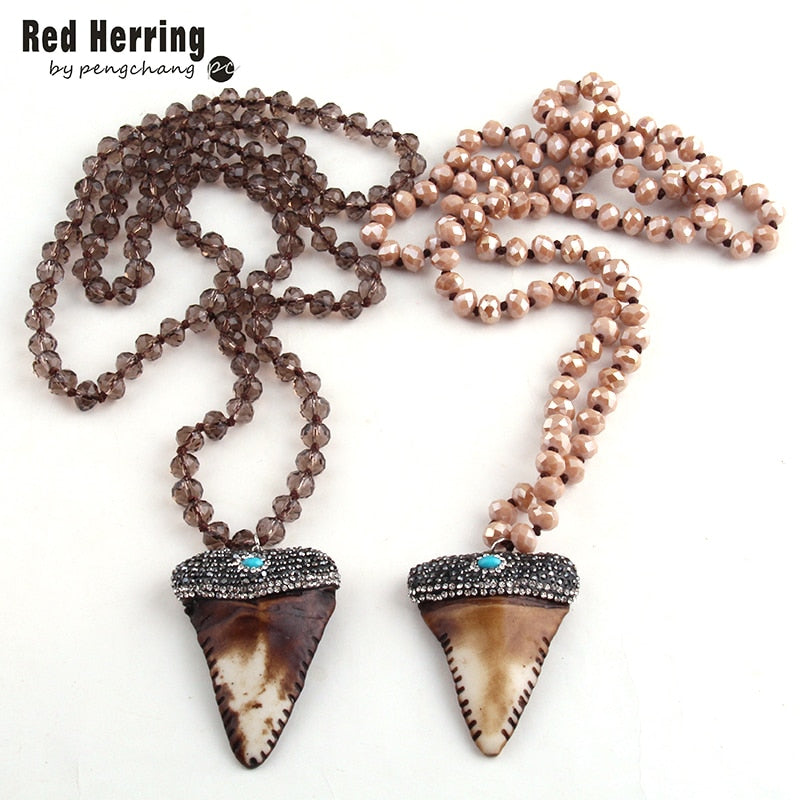Long Crystal Glass Knotted Pave Crystal Teeth Pendant Necklaces