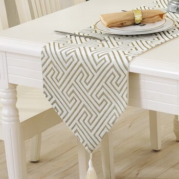 Fashion Modern Table Runner Vintage Nylon Jacquard Runner Table Cloth With Tassels