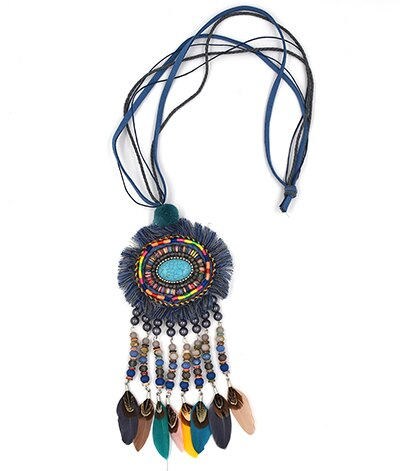 Handmade Bohemia Boho Beads Long Fringe Pendant Maxi Necklace Colorful Beaded