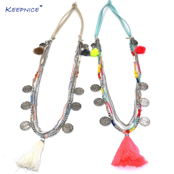 Multy layers Seedbeads chain necklace