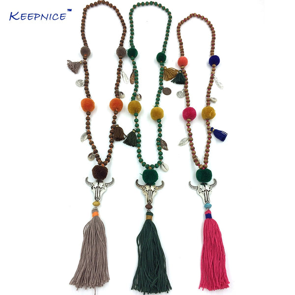 Tassel Beades Chain Long Pompoms Charm