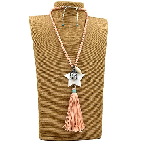 Stone Beaded Chain Sea Shell Five Stars Pentagram Pendants Pink Tassel Buddha Pendant Maxi