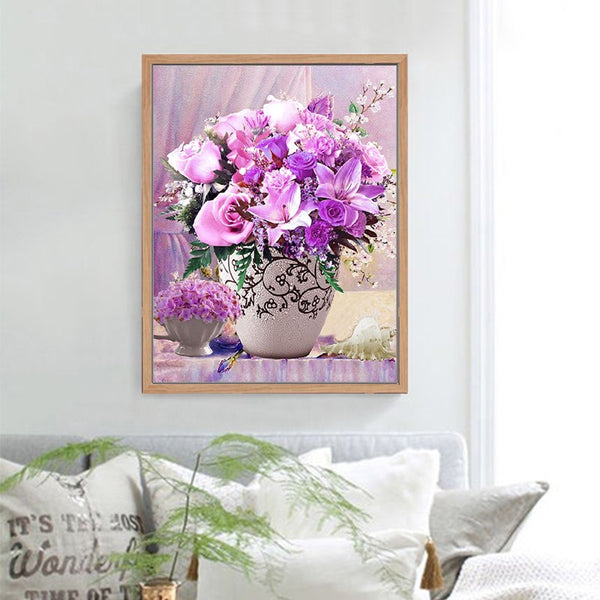 DMC DIY cotton cross stitch Kits embroidered Purple roses Flowers