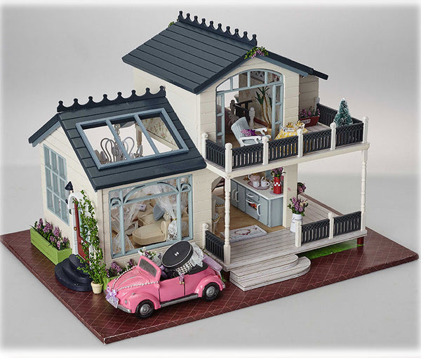 Doll House Wodden Miniature with Furniture Kit Toys for Children Christmas Gift New A32