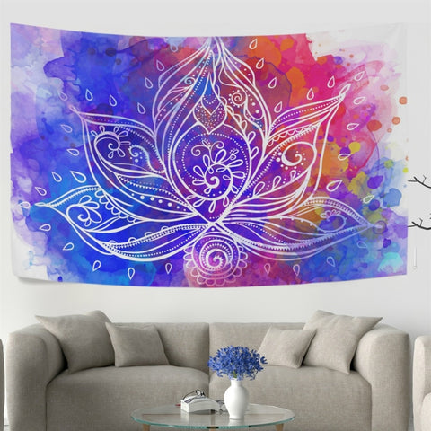 Bohemia Style Lotus Flower Geometric Wall Tapestry Dorm Throw Bedroom Room Decorative Window Doorway Hanging Curtain