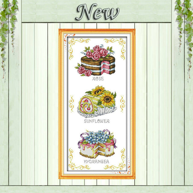 Teapot Dessert cake colorful flowers painting Counted Print on canvas DMC 11CT 14CT