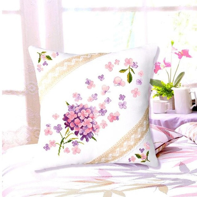 SewCrane Cushion Cover Stamped Cross Stitch Kit Throw Pillow Kit,Purple Wildflower