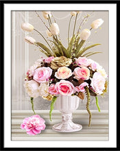 Load image into Gallery viewer, DIY Needlework DMC Cross stitch kit flowers Rose Vase