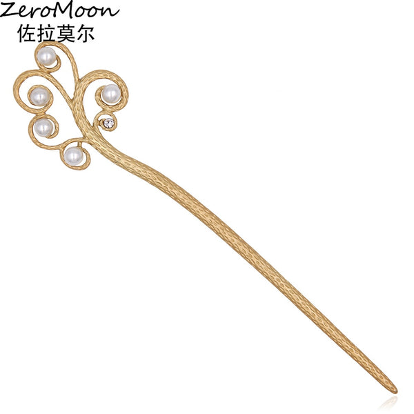 Chinese Style Matte Gold Branch Pearls Metal Hair Sticks Vintage Hairpin Fashion