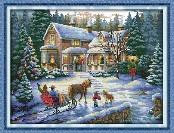 Christmas series 9 Canvas DMC Chinese Cross Stitch Kits printed