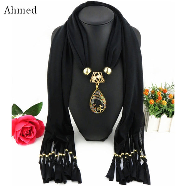 Bali Yarn Ethnic Beads Tassel Scarf With Gold Peacock Pendant Fringe Long Scarf Necklace