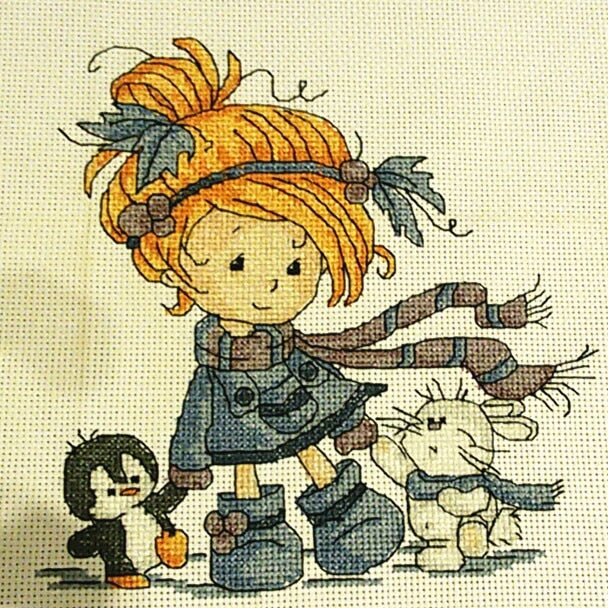 The little girl and friends cross stitch kit DMC counted aida 14ct 11ct black hand embroidery DIY handmade needlework supplies