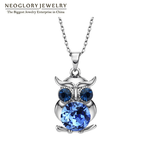 Blue Austrian Crystals Owl Boho Long Necklaces & Pendants