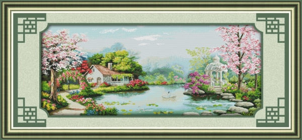 Big Size!European Town Counted Cross Stitch 11CT 14CT DMC Cross Stitch DIY Cross Stitch