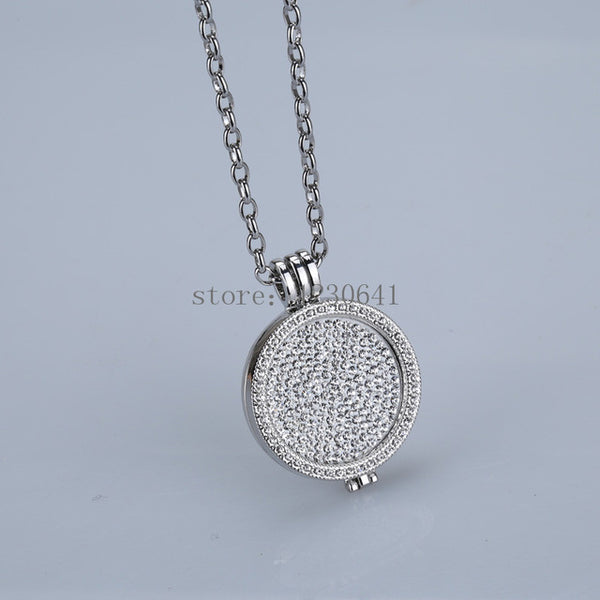 35mm coin holder pendant necklace 33mm crystal Christmas woman gift long chain