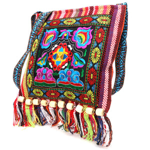Vintage Chinese National Style Ethnic Shoulder Bag Embroidery Boho Hippie Tassel Tote Messenger