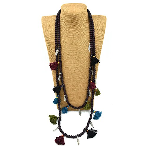 Bohemia Boho woode beaded Necklaces colorful tassel pendants layered long necklace