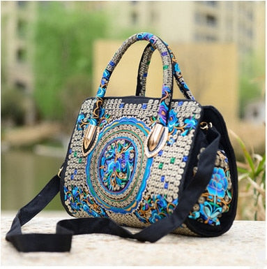 National Shopping Floral embroidery shoulder&Handbags Women's messenger Small handbags