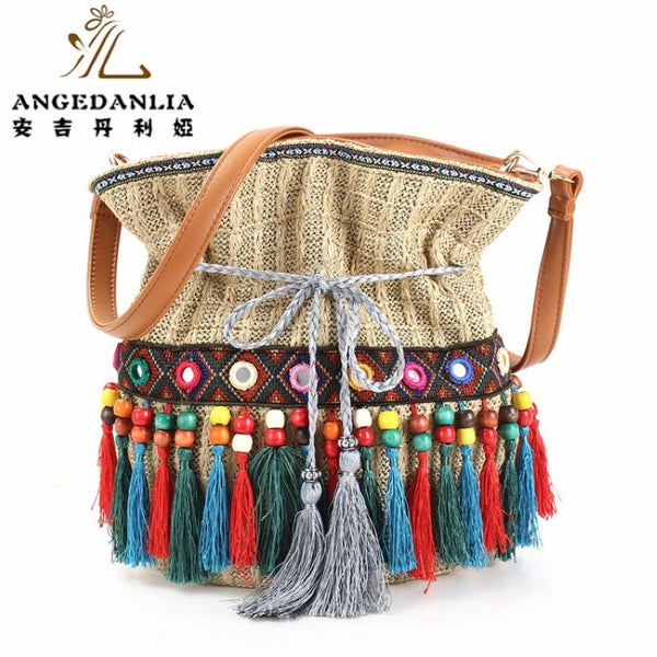 beach tassel straw bucket