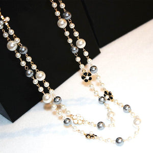 Classic Double Layers Simulated Pearl Necklace Women Luxury