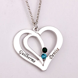 Engraved Couples Necklace with Birthstones  Custom Made Any Name YP2492