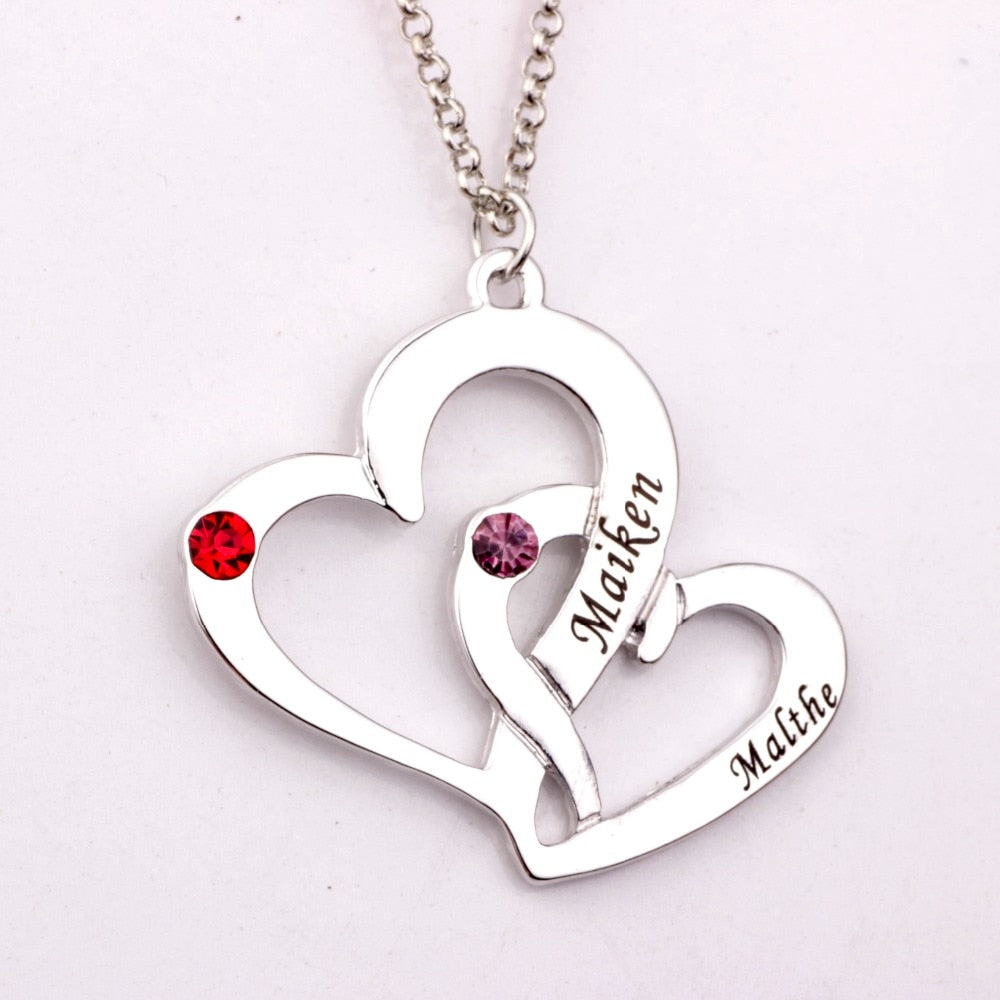 Engraved Two Heart  Necklace with Birthstones  Custom Made Any Name YP2486