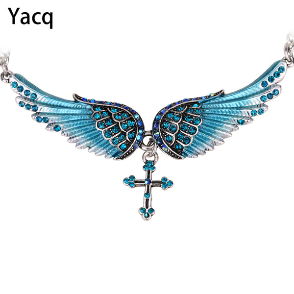 Angel Wing Cross Necklace Crystal Silver Color