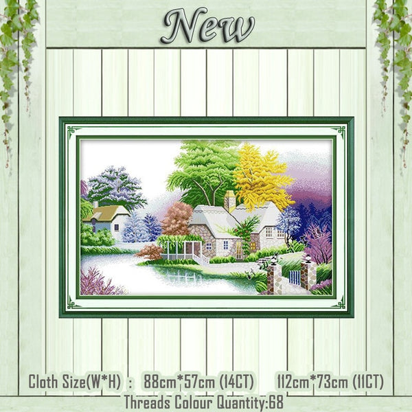house scenery painting DMC 11CT 14CT kits Cross Stitch needlework