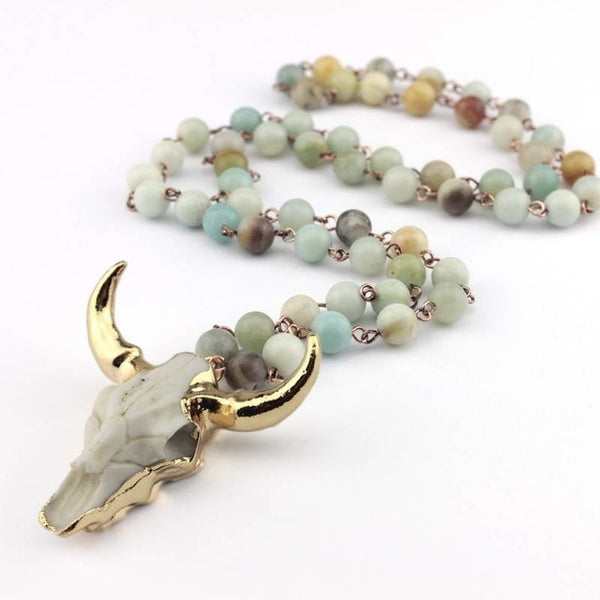 Amazonite Stones Necklace Bohemian Tribal Jewelry Totem Horn Pendant Necklace