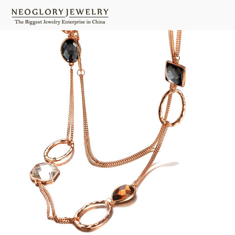 Crystal Alloy Rose Gold Color Brand Long Necklace Statement