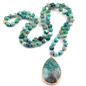 Semi Precious Stones Agat long Knotted Natural Pendant Necklaces