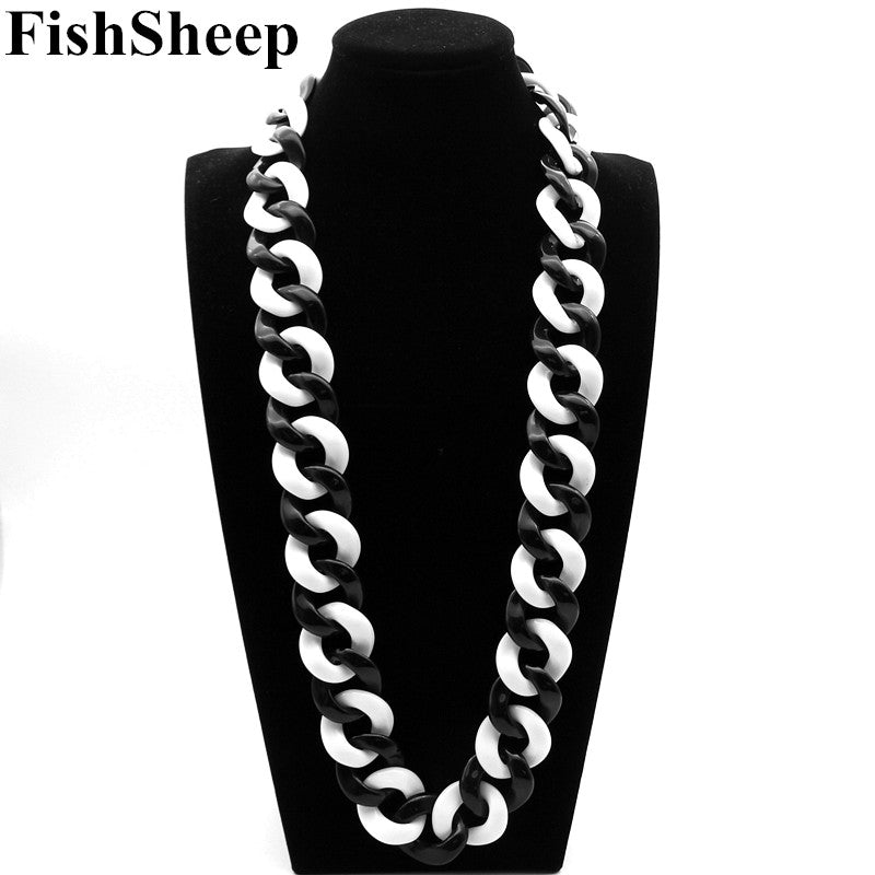 Statement Acrylic Long Necklace Exaggerated Black/White Big Acrylic Link Chain Choker