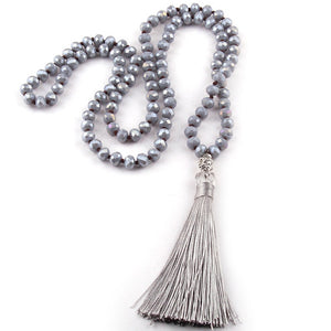Bohemian Tribal Long Tassel Yoga Jewelry Gary Crystal Necklace