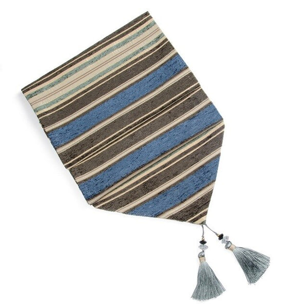 Table Runners Colorful Stripes With Tassels Chenille Canvas Fabric Table Top Decoration
