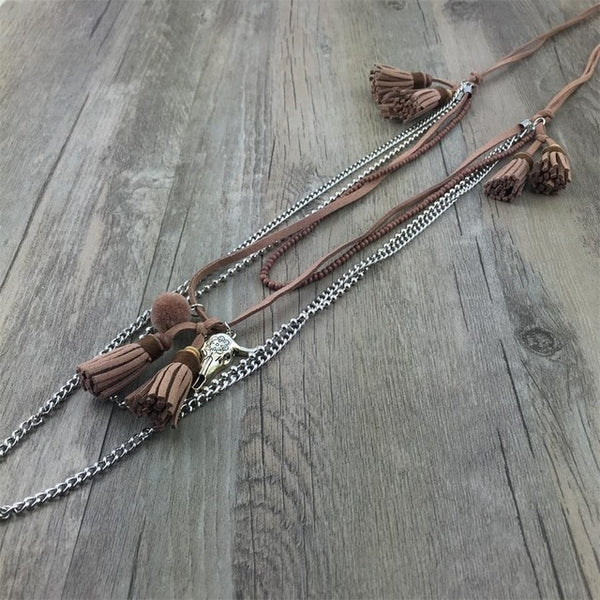 Boho chic Jewelry Leather long Fringe Tassel Pendents Bohemia Necklaces leather