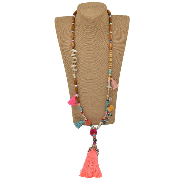 long fringe Buddha Pendants Necklace