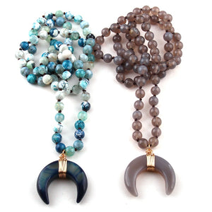 Bohemian Tribal Jewelry Semi Precious Stones Long Knotted Stone Moon Pendant Necklaces